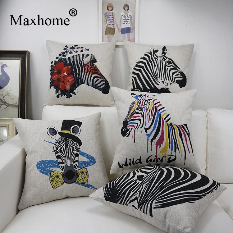 Nordic Design Modern Zebra Printed Pillowcase Luxury Sofa Cusion Decorative Pillow Home Decor Sofa Throw Pillows Wholesale 45*45