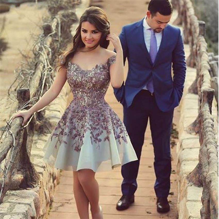 New Arrival High Quality Organza Sexy Appliques Dress Party DuBai Short Prom Dress Elegant 2015_conew1