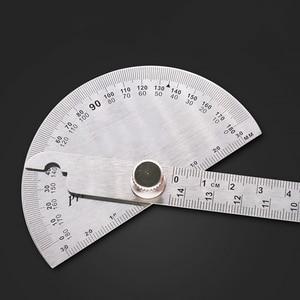 Image 5 - 14.5 سنتيمتر 180 درجة قابل للتعديل منقلة متعددة الوظائف الفولاذ المقاوم للصدأ roundhead زاوية حاكم الرياضيات أداة قياس
