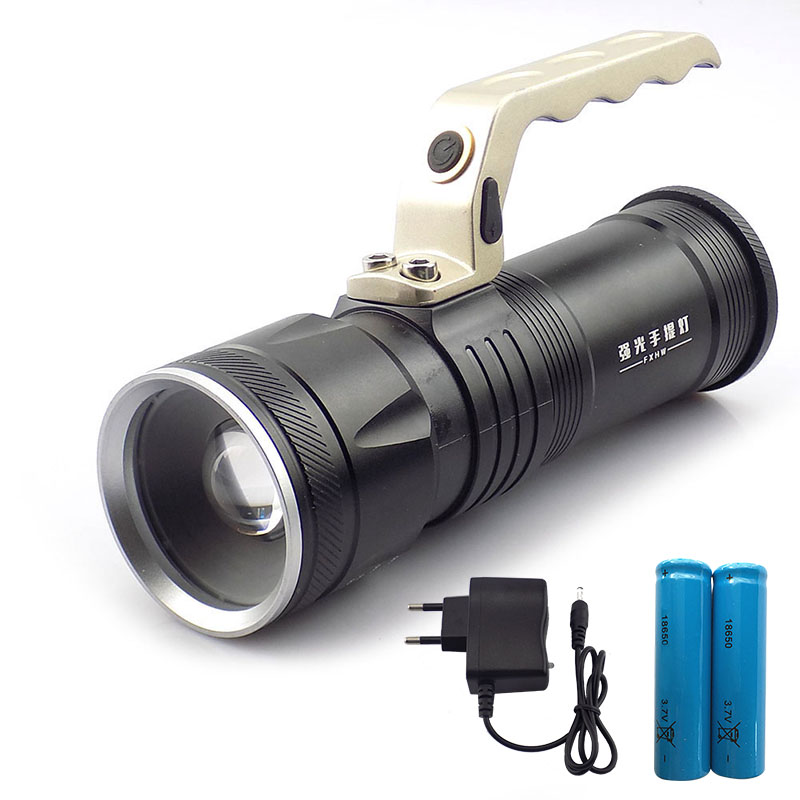 Protable Hand Searchlight Flashlight Zoomable Lights Rechargeable Flash Light Torch Lantern For Fishing Camping Hunting 18650