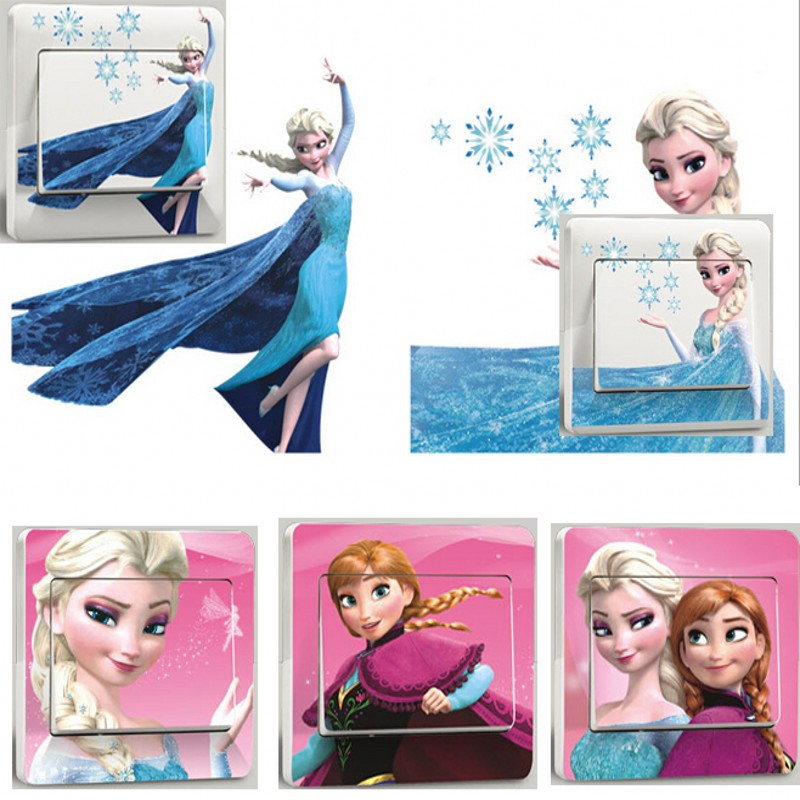 Elsa And Anna Cartoon Switch Sticker Snow Queen Bedroom Parlor Wall Stickers Home Decoration Kids Room Stickers