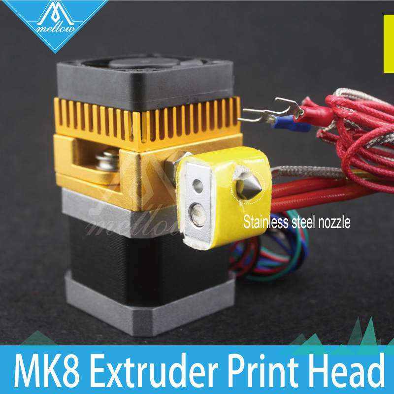 ФОТО 3D Printer Print Head MK8 Extruder J-head Hotend Stainless steel Nozzle 0.4mm 1.75 Filament for Makerbot, Prusa i3