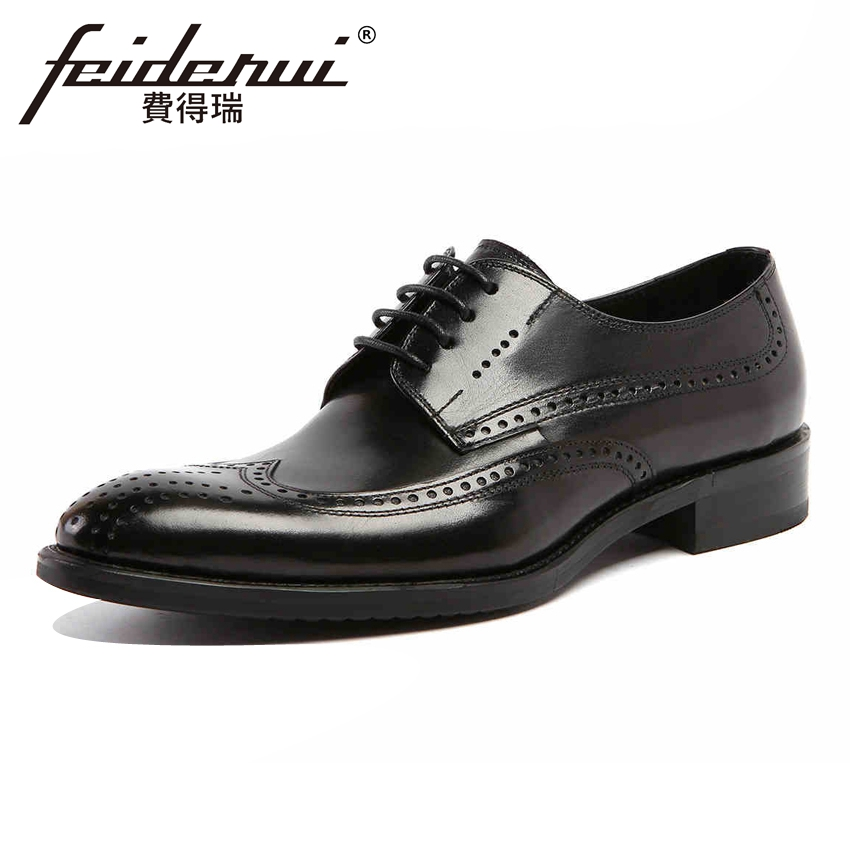 British Style Genuine Leather Mens Carved Oxfords Vintage Round Toe Derby Handmade Man Formal Dress Wedding Brogue Shoes YMX113British Style Genuine Leather Mens Carved Oxfords Vintage Round Toe Derby Handmade Man Formal Dress Wedding Brogue Shoes YMX113