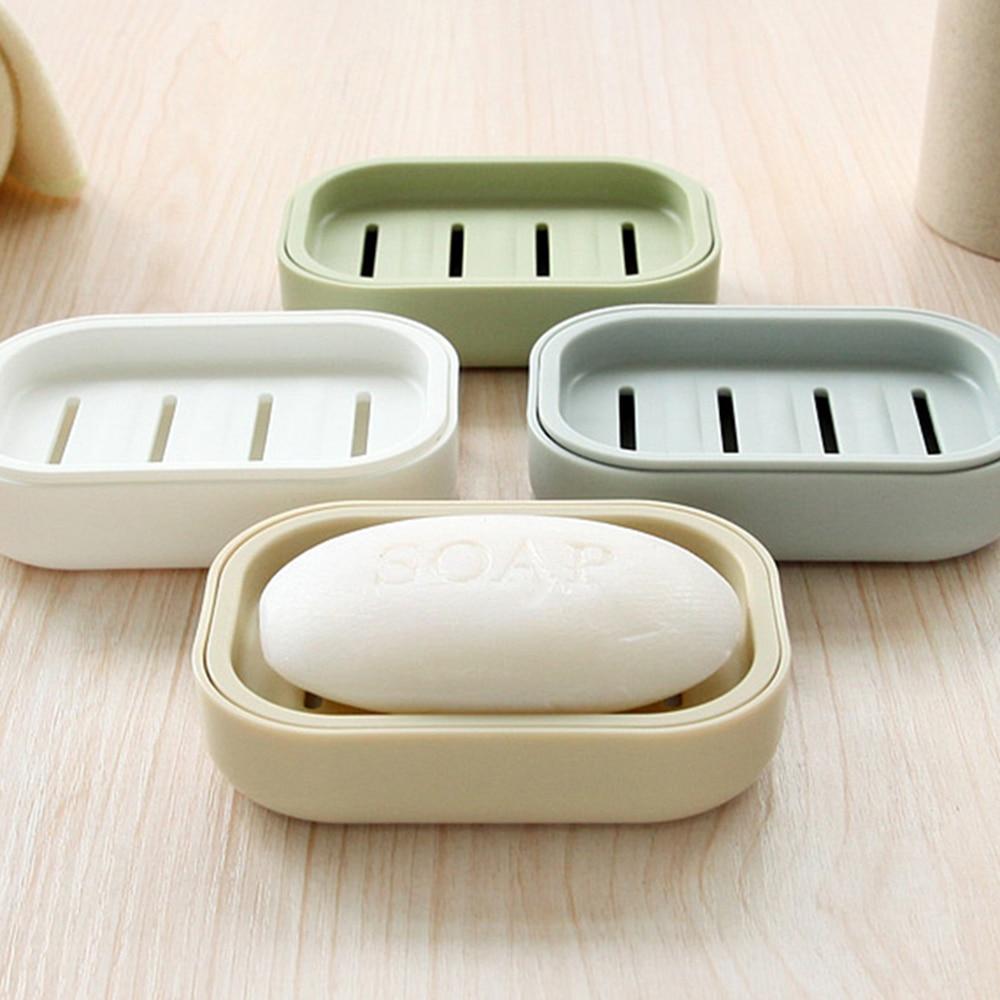 New 2019 Creative Soap Dish Double Draining  Bathroom Nordic Style Plastic Soap Holder Non-slip Soap Box