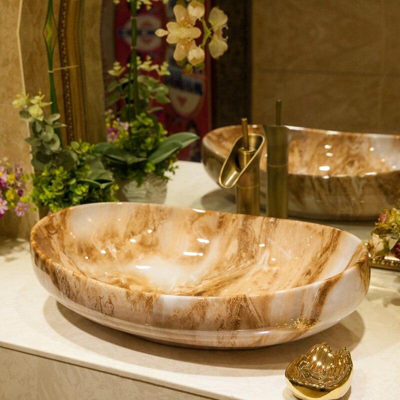Stile europeo marmorizzazione di arte ceramica bacino del bagno di lavaggio del bacino-in Lavabi per bagno da Miglioramento della casa su AliExpress - 11.11_Doppio 11Giorno dei single 1
