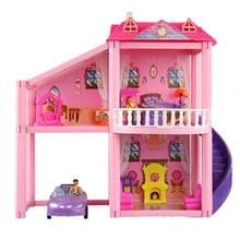 46 * 44.5 cm No.960 bricolage famille poupée maison jouet avec des poupées accessoires meubles miniatures garage jouets pour fille cadeaux