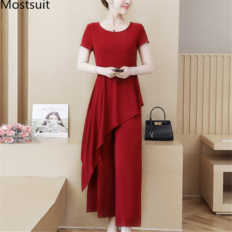 M-4xl Black Red Summer Two Piece Sets Women Plus Size Short Sleeve Long Asymmetrical Tops And Wide Leg Pants Office Elegant Suit