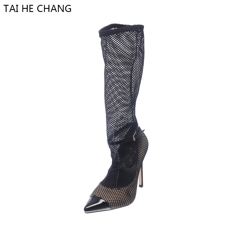 2017 New Fashion Show Style Shoes Woman High Heels Pointed Toe Pumps Mesh Hollow Out Boots Black Sexy Vintage Brand Women Shoes roman hollow out the photo shoes fashionable nightclub cos props phantom of the opera queen show low shoes canister boots
