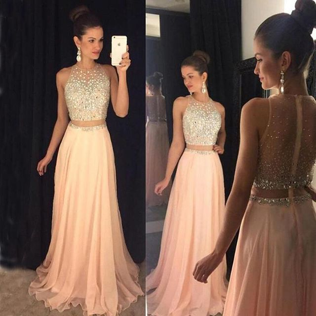 DZW130 Fashion New Long   Evening     Dress   2019 O-Neck Sleeveless Floor Length Beading Chiffon Prom   Dresses   Robe de soriee
