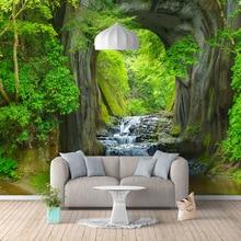 купить Custom Wallpapers For Walls 3D Stereo Green Forest Stream Landscape Photo Wallpaper Living Room TV Sofa Backdrop Wall Cloth 3D дешево