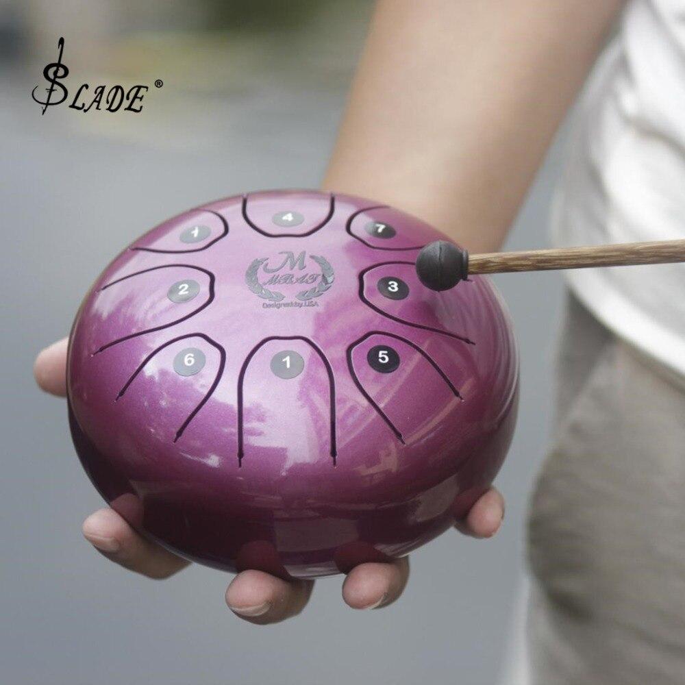 Tambour de langue de taille de main d'acier inoxydable de 5.5 pouces 8 Notes avec le sac et le bâton de tambour 5 couleurs facultatives