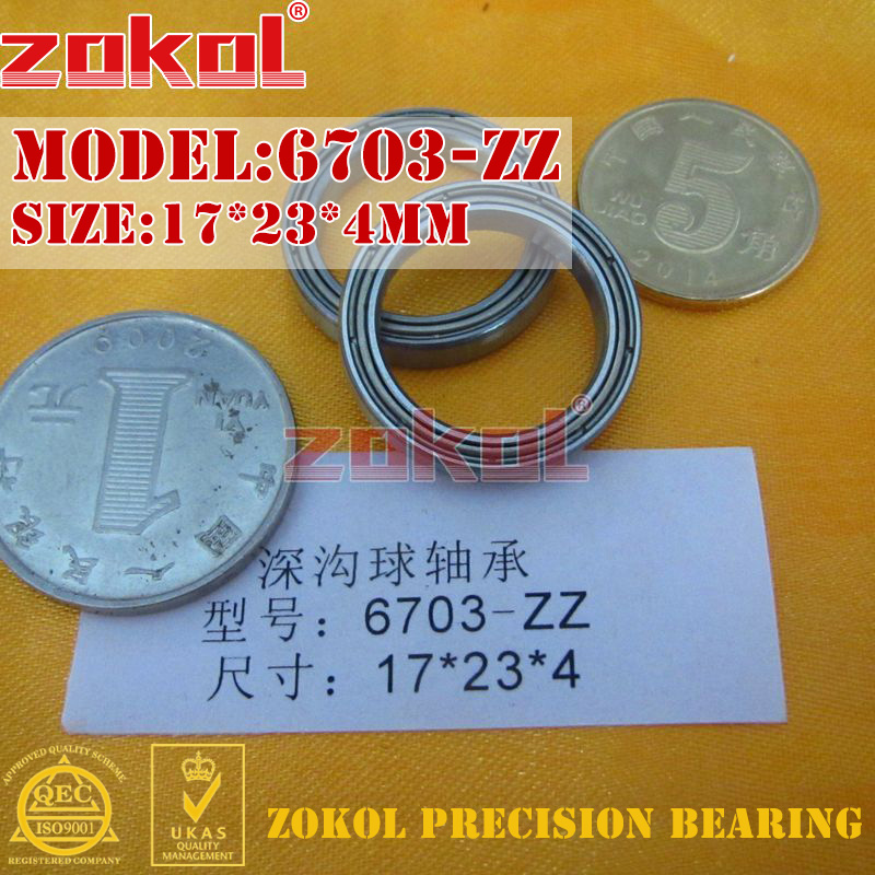 ZOKOL Bearing 6703 ZZ 1000703 Deep Groove Ball Bearing 17*23*4mm