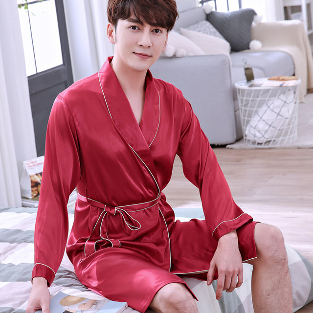 f0d4722bfc YZYOUTHZING Chinese Red Solid Robe Nightgown Men s Sleepwear ...