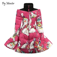 Girls Winter Coat 2018 Winter Children Clothing Cotton Down Princess Girls Coat Print Mandarin Collar Baby Girl Clothes W2