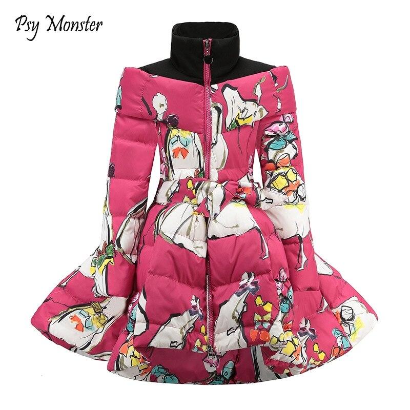 Girls Winter   Coat   2018 Winter Children Clothing Cotton   Down   Princess Girls   Coat   Print Mandarin Collar Baby Girl Clothes W2