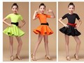 Kids dancer costumes Solid Sexy dance Latin Multi-Color Tango Ballroom Dance Dress Flowers one-piece dress 100-160cm