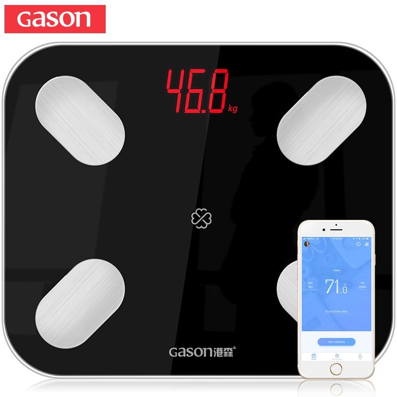 GASON S4 Gordura Corporal Escala do Assoalho Científica Inteligente LED Eletrônico Digital Peso Balança De Banheiro Bluetooth APP Android ou IOS