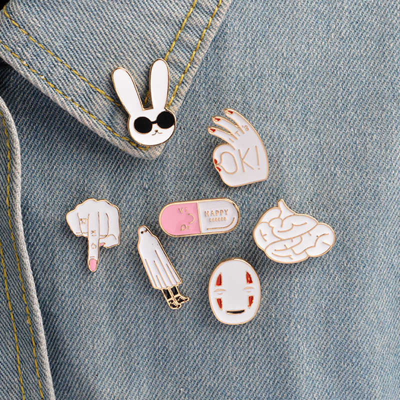 Cartoon Brooches Pin Badge Women Jewelry Girl Child Gifts Enamel Pins White Rabbit Mask Figure Sign Brain Cute