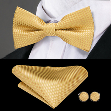 купить Hi-Tie Classic Gold Bow Ties for Men Silk Butterfly Pre-Tied Bow Tie Pocket Square Cufflinks Set Wedding Party Yellow Bowtie по цене 325.36 рублей
