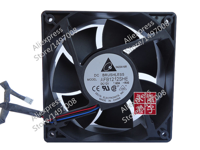 Free Shipping For DELTA  AFB1212SHE, -R00  DC 12V 1.60A, 120x120x38mm 80mm 3-wire 3-pin connector Server Square fan free shipping for delta afc0612db 9j10r dc 12v 0 45a 60x60x15mm 60mm 3 wire 3 pin connector server square fan