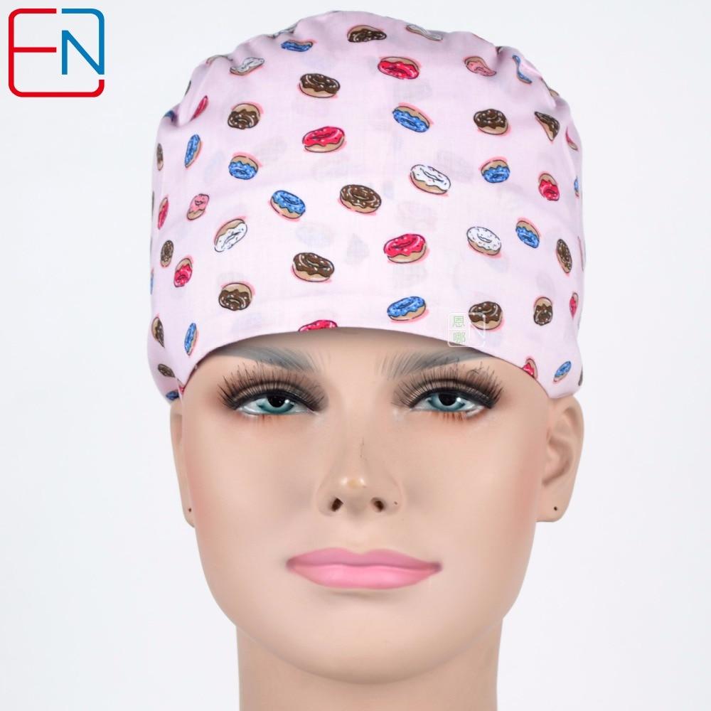Hennar Womens Scrub Caps Cotton Fabric Surgical Scrub Caps Masks For Women Hospital Dentist Medical Caps Print Tieback Elastic