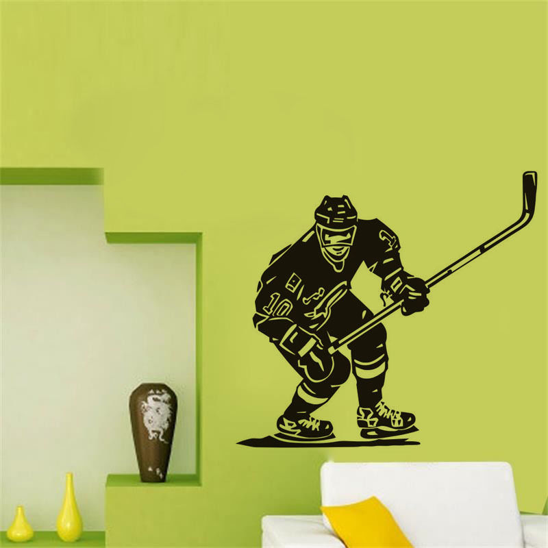 Front Hockey Player Vinyl Wall Stickers Sport Removable Wall Decal ...