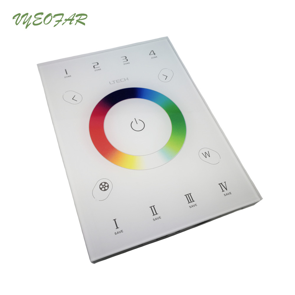 цена на New LTECH UX8 LED RGBW Wall Touch Glass Panel Controller 2.4Ghz and DMX512 output RGBW Strip 4 zones Multi Function controller