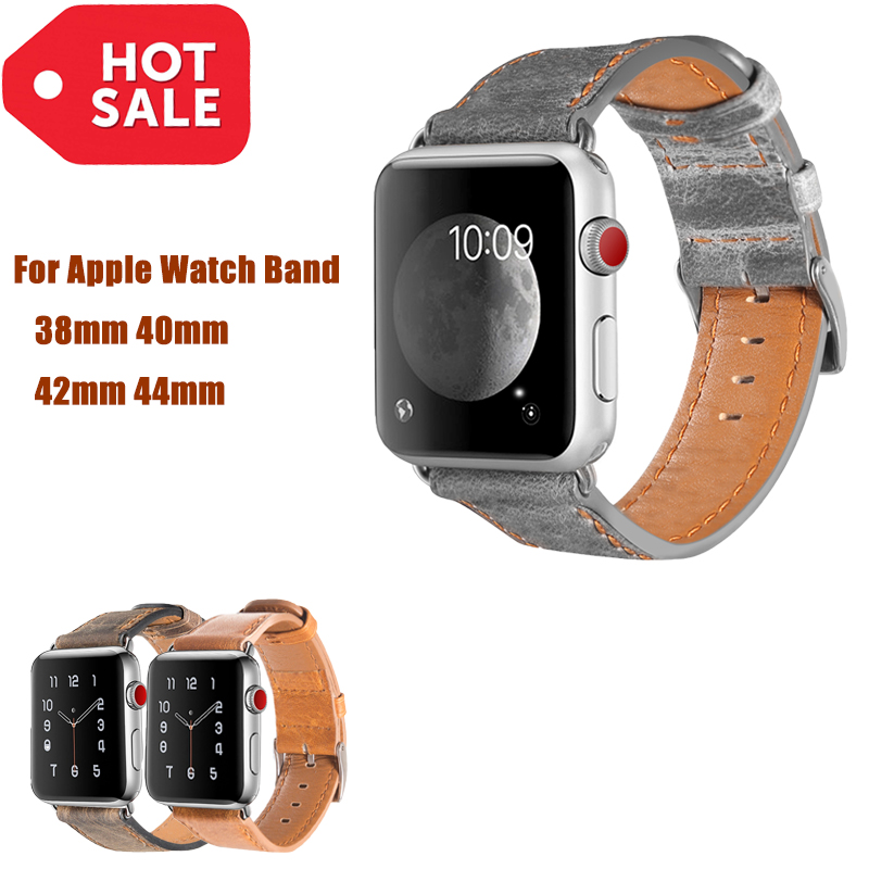 Genuine Leather Burst Crack bracelet Strap For Apple Watch band 4 44/40mm wrist IWatch series 3 2 1 42/38mm Accessories