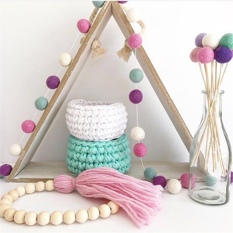 New 2M Nordic Style Handmade Felt Wool Balls For Kids Room Ornament Wall Hanging Home Decor Nursery Pom Pom Garland Party Props