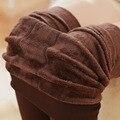 Бесплатная доставка 8 Цвета Зима Новый Высокой Упругой Утолщаются женские Леггинсы Согреться Брюки Узкие Брюки Trend Вязание для женщины