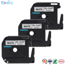 3PK Compatible Brother P-touch M231 MK231 M-k231 Label Tape 12mm Black on White M Series Tapes Use for PT-65 PT-90 Label Printer