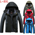 6XL 7XL 8XL Winter Jacket Men Waterproof Warm Parka Coats Jacket Brand Fleece Velvet Outerwear Jacket Windbreaker Men CF015