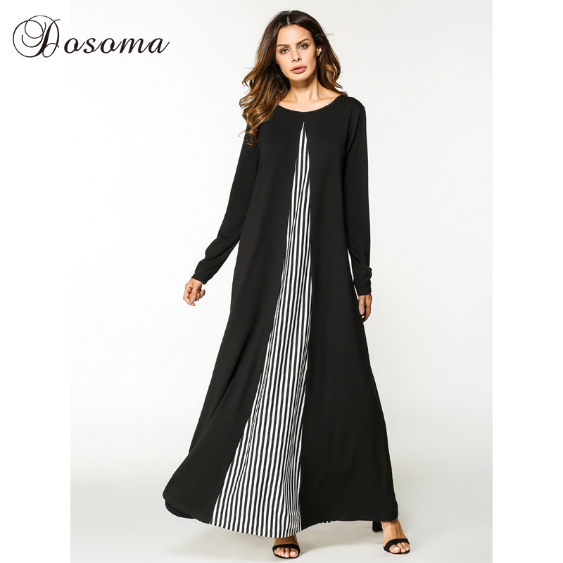casual maxi dress cotton abaya stripe long sleeve robe gowns patchwork middle east loose style. Black Bedroom Furniture Sets. Home Design Ideas