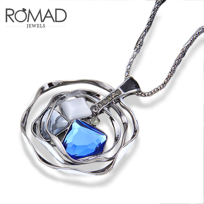 Romad 2017 New Arrival Women Necklaces & Pendants New Fashion Sweater Chain Crystal Pendant Necklace Long Christmas Gift