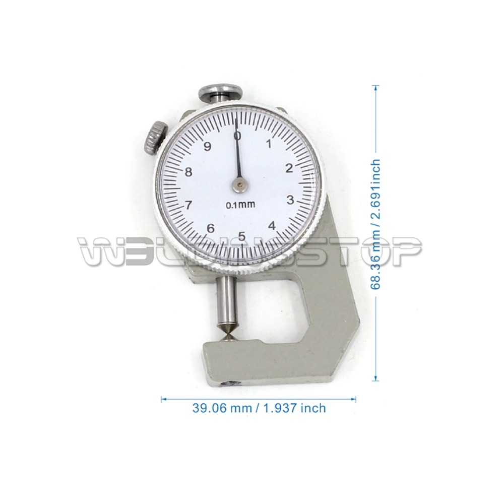 0-10mm x 0.1mm Precision Dial Thickness Gauge Measuring Tool w Plastic Case