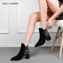 2019 Autumn New Ankle Boots for Women Luxury Shoes Women Designers Zapatos De Mujer Fashion Shoes Pointed Toe Square Heel Boots msfair women boots 2018 hot selling crystal ankle boots women shoes pointed toe high heel boot shoes square heel boots for girl