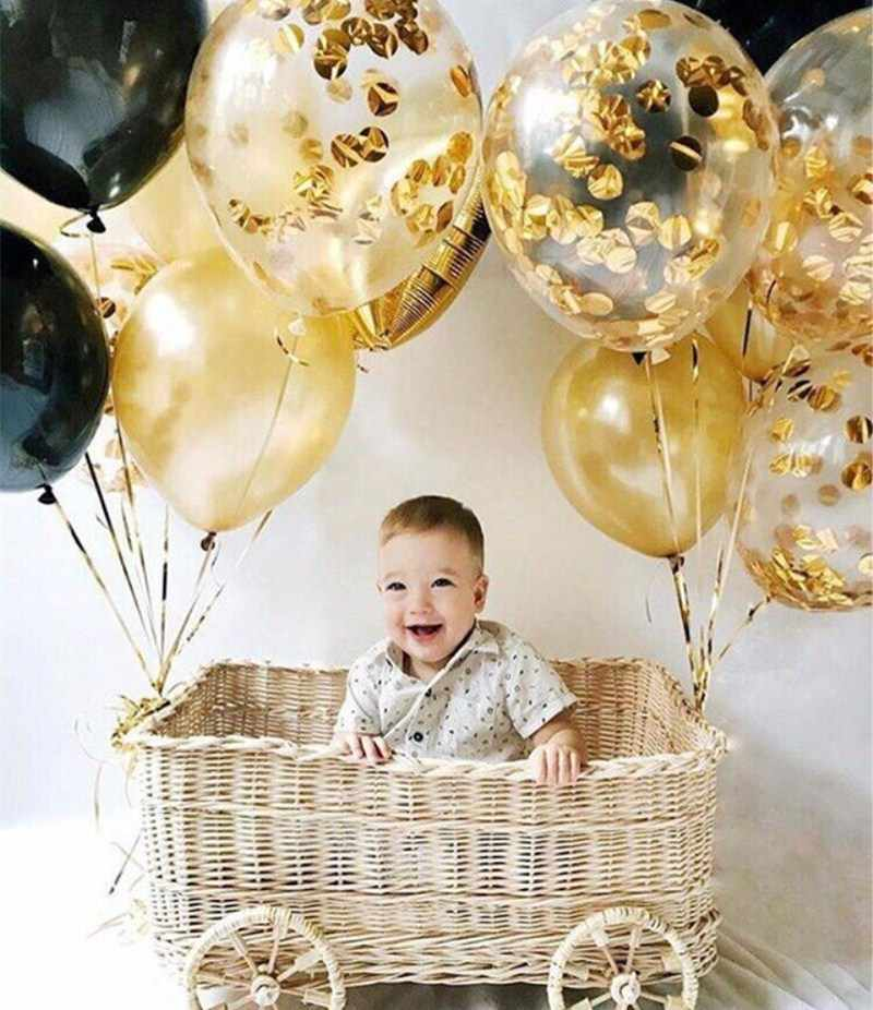 12inch Confetti Balloons Latex Round golden Paper Balloons Multicolor Confetti Dots Filled Clear Balloons for Birthday Party