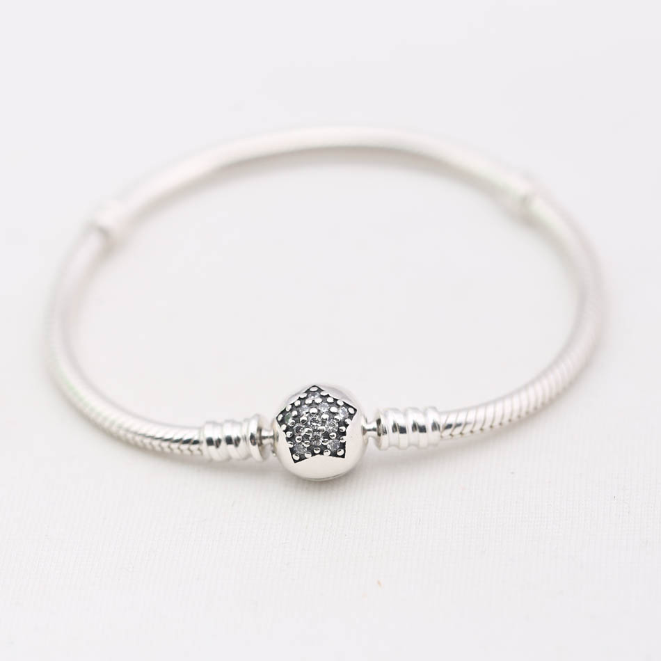 Genuine 925 Silver Bracelets and Bangles for Women Gift Sparkling Star Clear CZ fit Lady Beads Charms pendants DIY