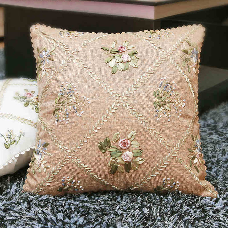 Aliexpress buy diy ribbon embroidery cotton cushion