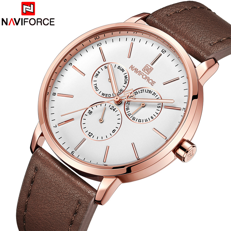 New NAVIFORCE Men Rose Gold Leather Watch Mens Fashion Dial Quartz Watches Male Business 24 Hour Analog Clock Relogio Masculino mike davis knight s microsoft business intelligence 24 hour trainer