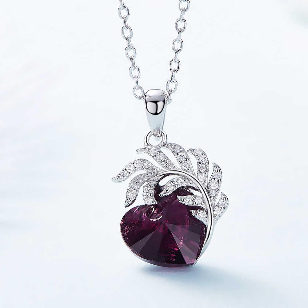 Heezen фиолетовый сердце и перо ожерелья для мужчин Подвески Роскошные Кристаллы, украшения модный кулон День Святого Валентина Подарки для женщин