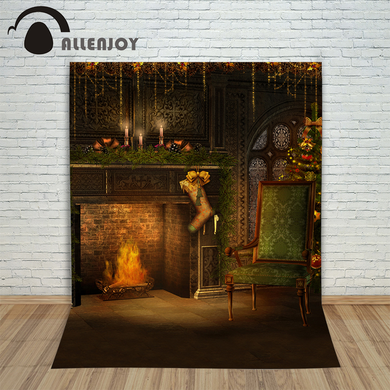 Background vinyl christmas Chair fireplace cle  newborn photo studio photocall cloth New fabric