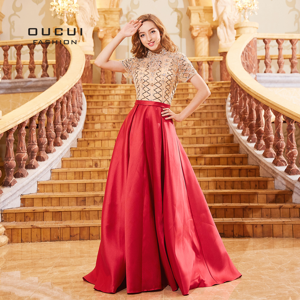 High Neck Tulle Beading Sequined Long Evening Dresses Half Sleeves Satin Dress Sexy Illusion Rose Red