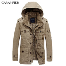 CARANFIER 2017 Multi-pocket Winter Jackets Men Rushed Casual Jacket Warm Thicken Parkas hombre Hooded Outerwear Coats Buttons
