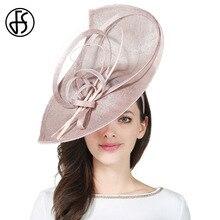 FS Sinamay sombreros de Kentucky Derby de ala ancha, sombrero hecho a mano de lino con flores, sombrero grande Fascinator Vintage, gorro de cóctel para fiesta elegante