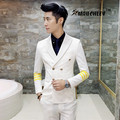 (Jacket+Vest+Pants) 3PCS/Set Men Suit With Pants Double Breasted White Wedding Suits for Mens Groom 2017 Slim Fit Prom Dress