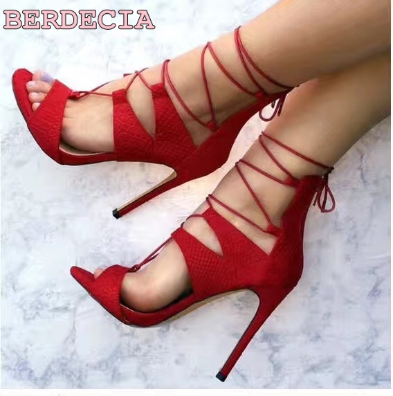 new fashion peep toe high heel sandals ankle strap red suede leather shoes lace up stiletto heel women shoes party summer sandal party suede and stiletto heel design peep toe shoes for women