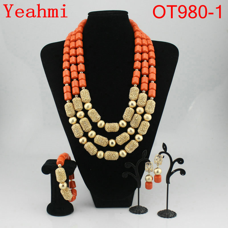 Free shipping wedding gold jewelry sets  necklace sets african beads jewelry sets OT980-1