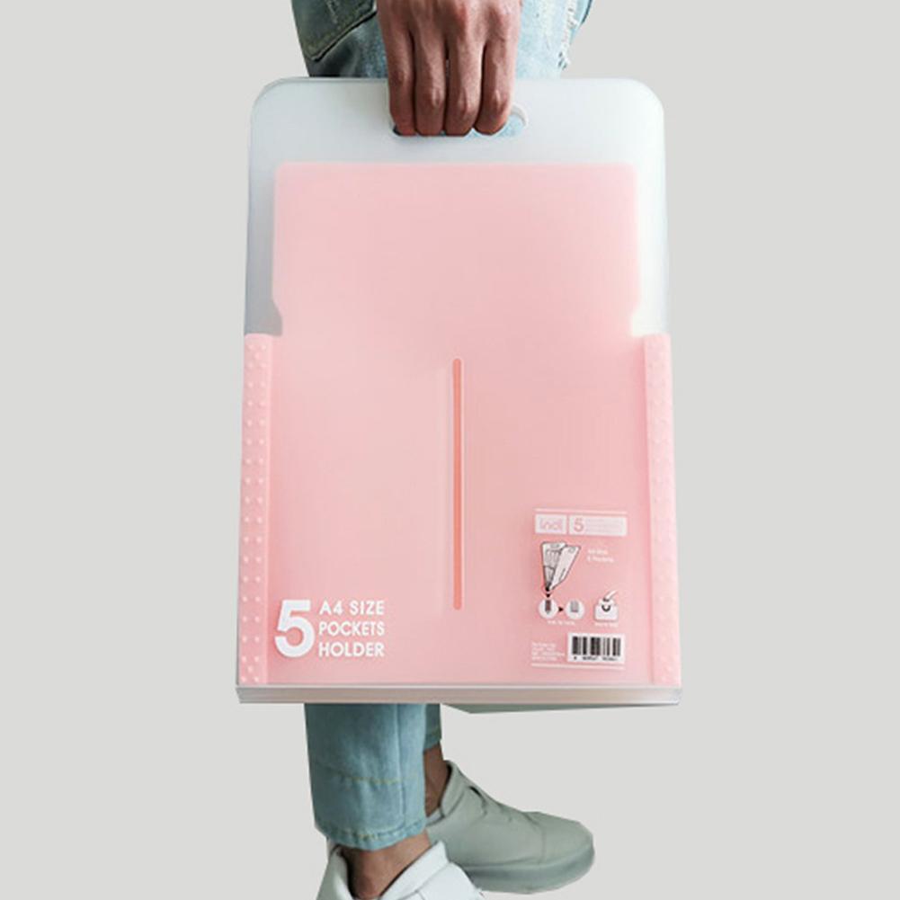 1PC Portable Organ Bag Document Bag File Folder Expanding Wallet 5 Grid  A4 Organizer Paper Holder Office School Supplies Gift