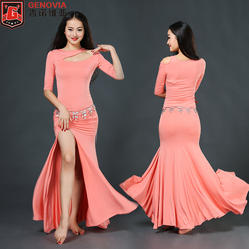 Picture of 2018 Top Fashion New Tribal Women Sexy Belly Dance Costume Suits Club Stage One-Piece Long Dress For Oriental Clothes Colour 5
